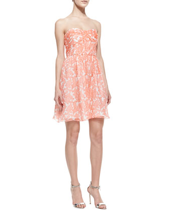 Jennifer Strapless Printed Chiffon Dress