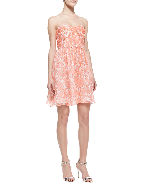 Womens Jennifer Strapless Printed Chiffon Dress   Shoshanna   Coral multi (4)