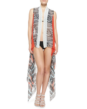 Sleeveless Open-Front Printed Serape