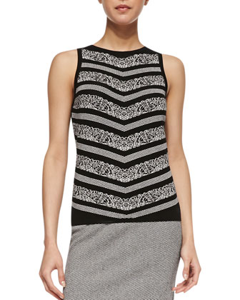 Sleeveless Birdseye Print Sweater, Black/White