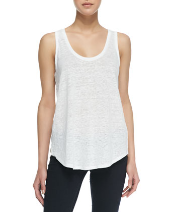 Sleeveless Linen Jersey Tank Top, White