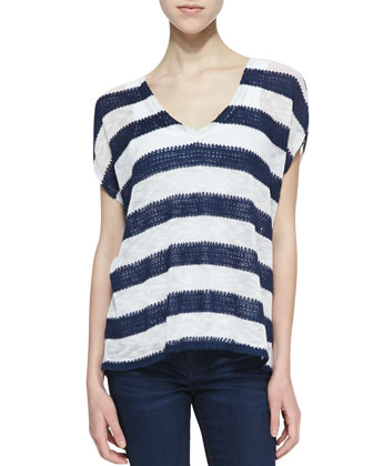 Saharan Striped Loose Knit Top