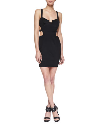 Cutout Bustier Mini Dress, Black