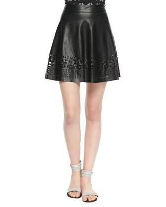 Geometric Cutout Faux-Leather Skirt, Black