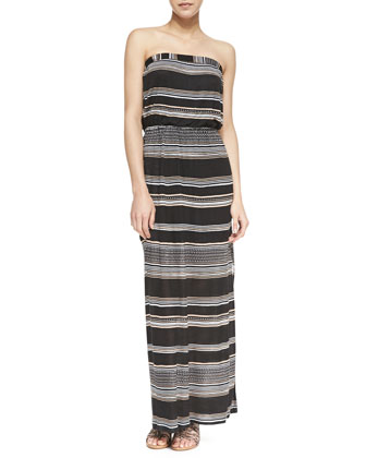 Safari Striped Strapless Maxi Dress, Black
