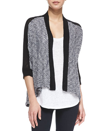 Melange Loose Knit Cardigan, Navy/White