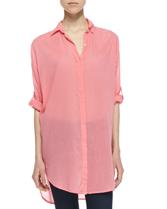 Oversized Tab-Sleeve Voile Shirt, Hibiscus