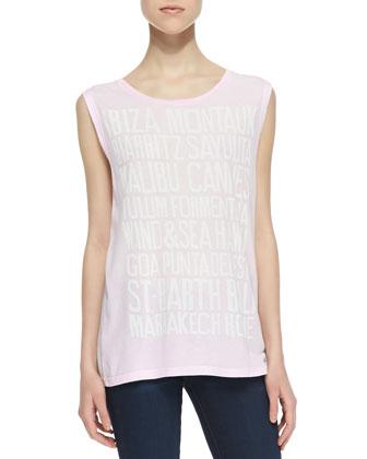 Beach Print Jersey Muscle Tee, Pink