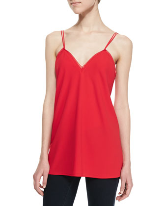 Olivia Trimmed Spaghetti Strap Tank, Red
