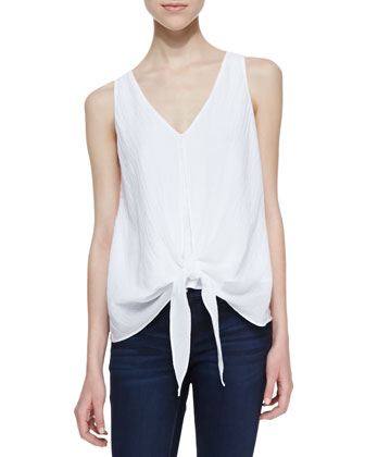 Tie-Front Contrast Top, White