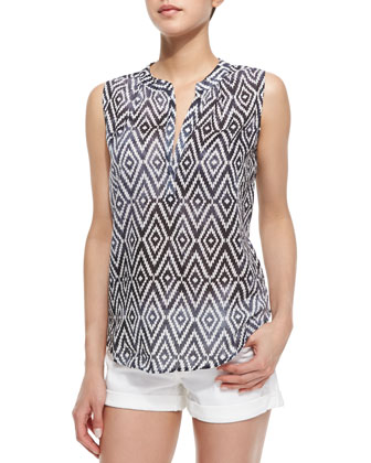 Kibo Diamond Zigzag Print Top, Blue Pattern