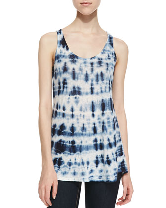 City Tie Dye Linen Top, Gray
