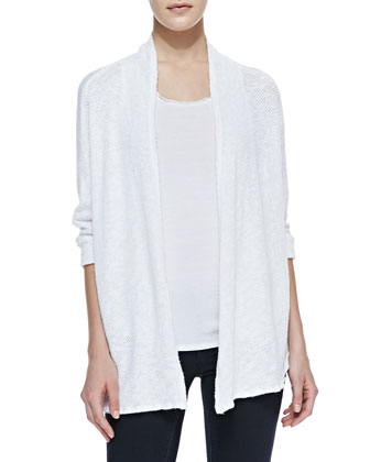 Open-Front Crochet Knit Cardigan, White