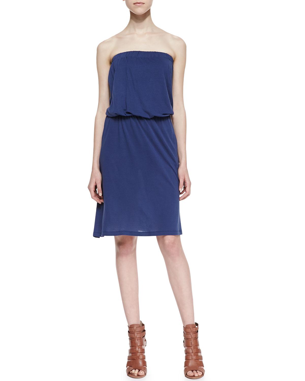 Womens Strapless Draped Jersey Dress, Bluestone   Lily Aldridge for Velvet