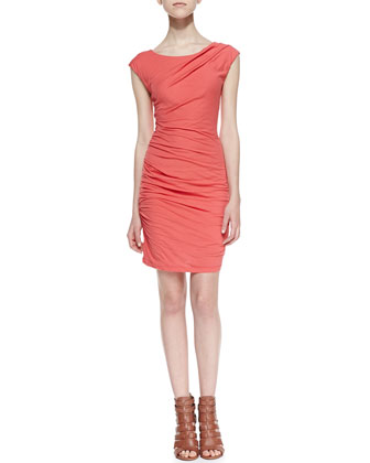 Cap-Sleeve Ruched Sheath Dress, Orange
