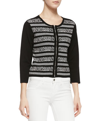 3/4-Sleeve Zip-Front Cardigan, Black/White