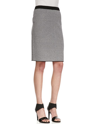 Sleeveless Birdseye Print Sweater & Fine-Checkered Pencil Skirt