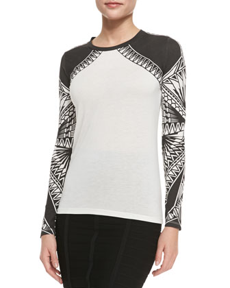 Printed Jersey Long-Sleeve Top