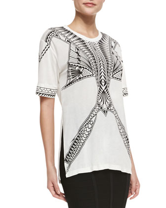 Short-Sleeve Printed Jersey Top & Sia Below-The-Knee Bandage Skirt