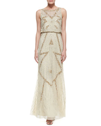 Sleeveless Beaded & Sequin Deco Pattern Gown