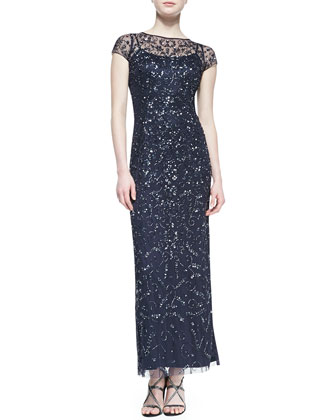 Short-Sleeve Lace Overlay Sequin Gown, Twilight