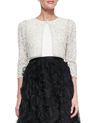 Half-Sleeve Sequined Bolero & Sleeveless Combo Rosette Ball Gown