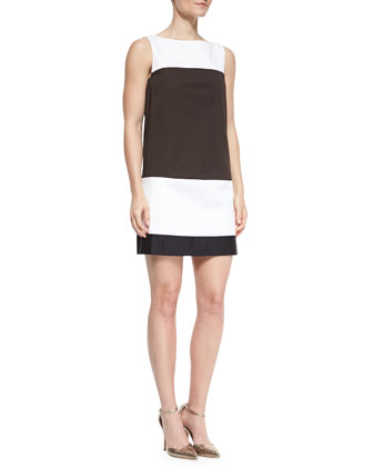 colorblock bicolor shift dress & rio embellished-neck cardigan