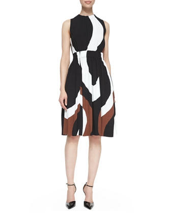 rio swirl-print back-tie dress