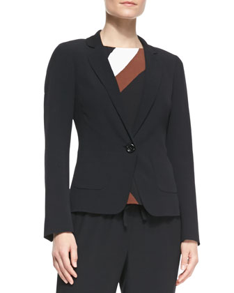 one-button crepe blazer, tatiana rio-swirl crepe top & hutton lounge ...