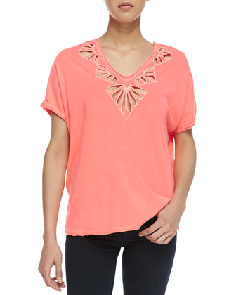 Petal Cutwork Double-V Tee, Coral