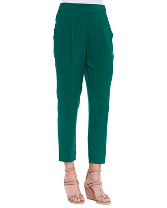 Solid Easy Pleat Pants, Emerald