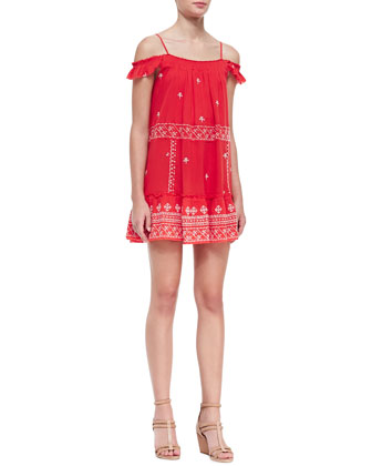 Ruffled Embroidered Flounce Slip Dress, Red/White
