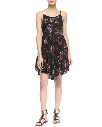 Circles of Flowers Laced Slip Dress, Black Multi