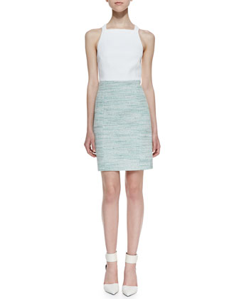 Summer Tweed Two-Tone Dress, Spearmint/White