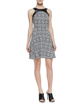 Faux-Leather Trim Leopard-Print Dress, Black/White