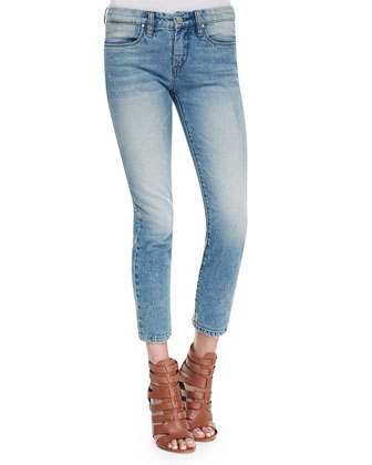 Rasbian Cropped Cigarette Jeans, Light Blue