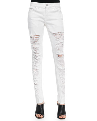 Powder Slice Deconstructed Skinny Jeans, White