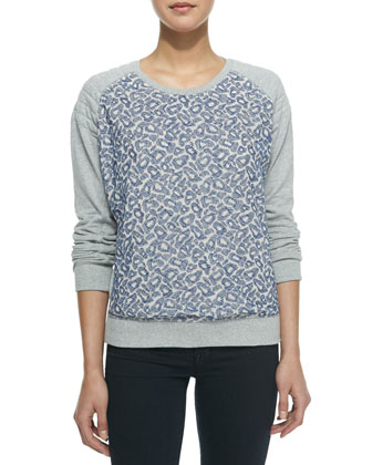 Leopard Embroidered Mesh-Front Sweater, Blue/Gray