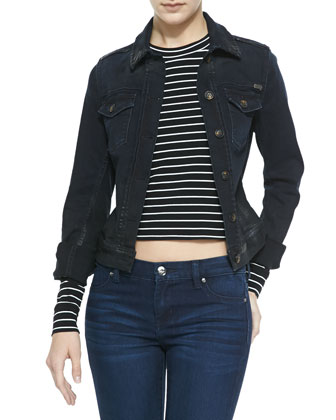 Coated Denim Jacket, Blue