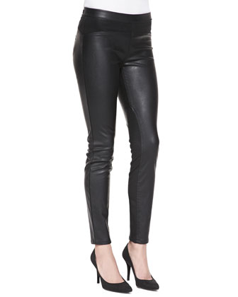 Faux-Leather Paneled Leggings, Black