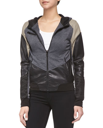 Faux-Leather Combo Zip Jacket