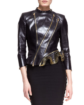 Leather Double-Zip Jacket & Sianna Strapless Formfitting Bandage Dress