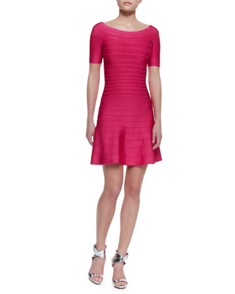 Liza Half-Sleeve Fit & Flare Dress, Rose Red
