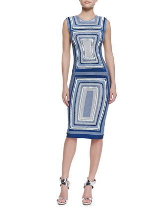 Adrianne Geometric Design Bandage Dress