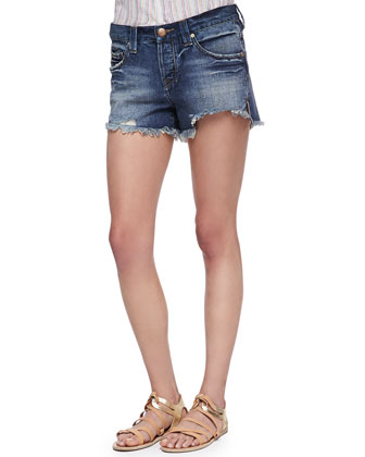 Sharkbite Fringed Denim Shorts, Royal Wash