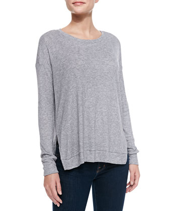 Long-Sleeve Side-Slit Jersey Top