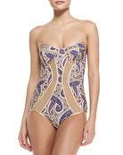 Haze Peak Paisley One-Piece Bandeau Swimsuit