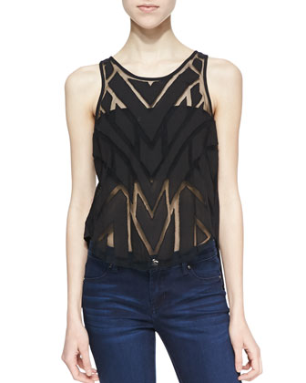 Ethereal Daze Sheer Chevron Print Top, Black