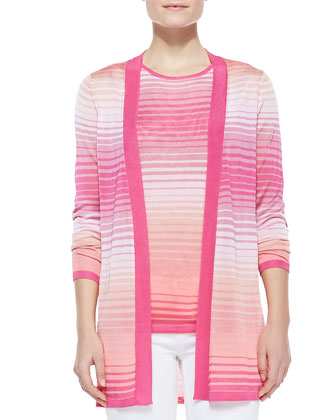 Ombre Knit Open-Stitch Cardigan