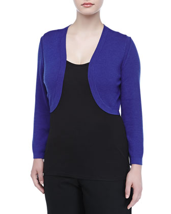 Cropped Cashmere Blend Bolero, Royal Blue